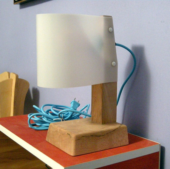 ON SALE - Sail Lamp - Sustainable Table or Desk Task Lighting - Reclaimed Maple Wood Base & Modern White Shade - Simple Geometric Minimalist