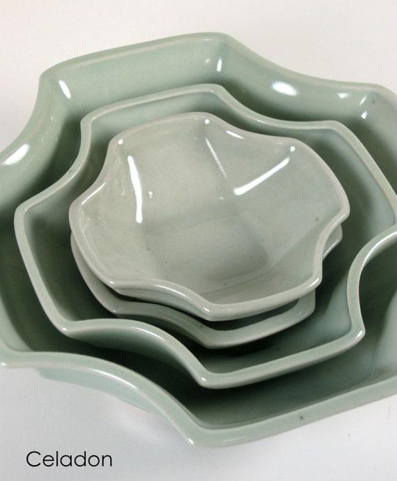 """3D Printed Ceramic Porcelain """"Thorn"""" Modern DISH / BOWL SET - Serving Side Digital Craft cnc Asian Black-Green-Celadon"""
