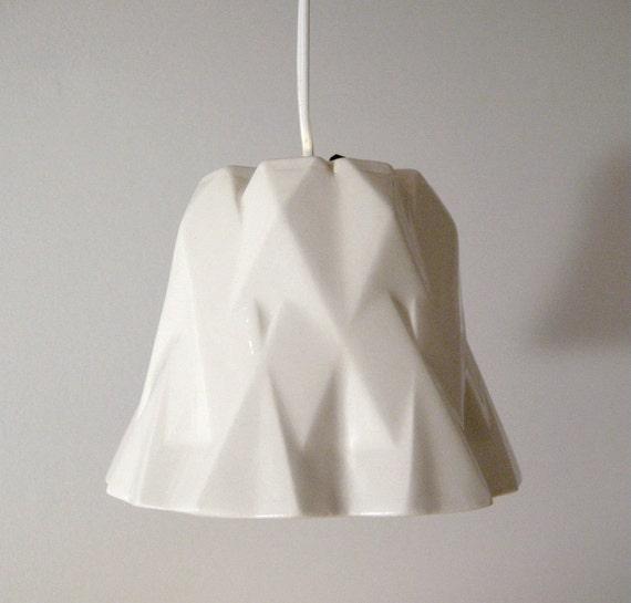 FACET HANGING LAMP Slipcast Porcelain Lampshade / Accent Light - Ceramic Digital Craft Modern White Abstract Art