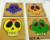 Sugar Skull (Day of the Dead) Coasters - set of 4