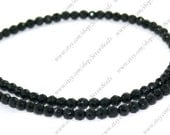 Faceted 4mm round black agate stone beads