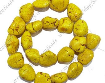 12x16mm Charm yellow turquoise nugget stone beads loose strand