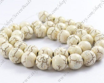 Superb white turquoise round stone beads loose strand 12mm