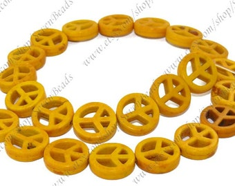 Charming yellow 15mm  Peace mark Turquoise strands