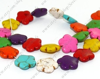 Multicolor turquoise flower stone beads loose strand