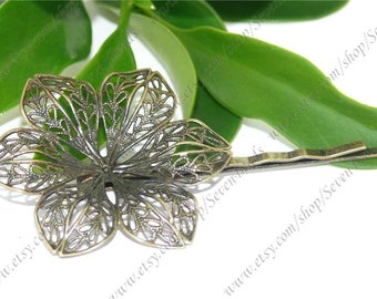 5pcs Newest Antique Bronze Bobby Hair Pins With flower Pattern Pad