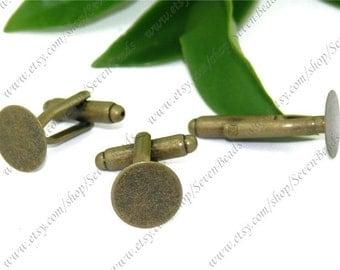 5pcs Antique Brass Pad Round sleeve button Base12mm Pad