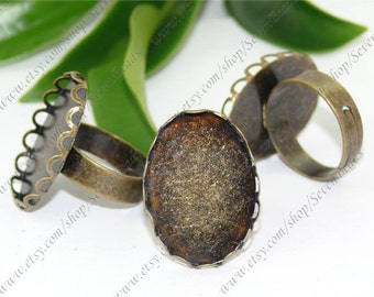 Beautiful Antique Bronze oval Adjustable Ring Shank (4pcs)