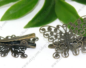 Antique Bronze bobby pins butterfly  filigree pad 25x31mm 10pcs