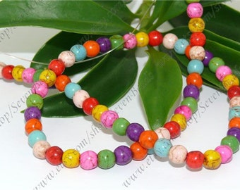 Multicolor 6mm turquoise round stone beads,loose beads full strand 15inch