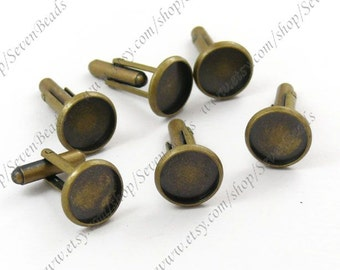 20pcs Antique Brass Pad Round sleeve button Base 14mm Pad