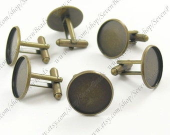 50pcs Antique Brass Pad Round sleeve button Base pad 16mm