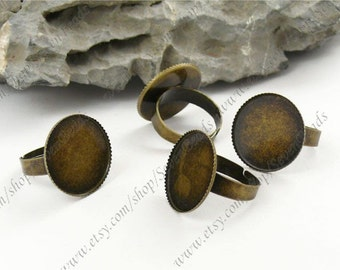 10pcs Antique Brass round  Ring Base 20mm Adjustable ring