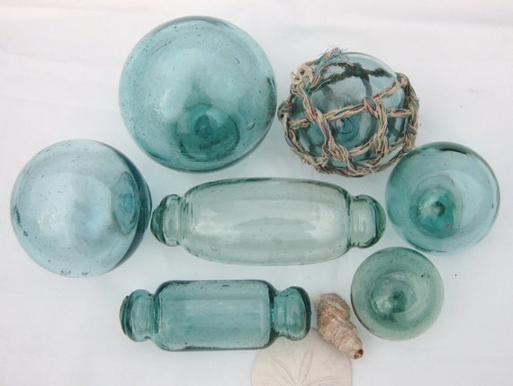 Japanese Glass Fishing Floats - Collection of 7 in Shades of Green and Teal Blue