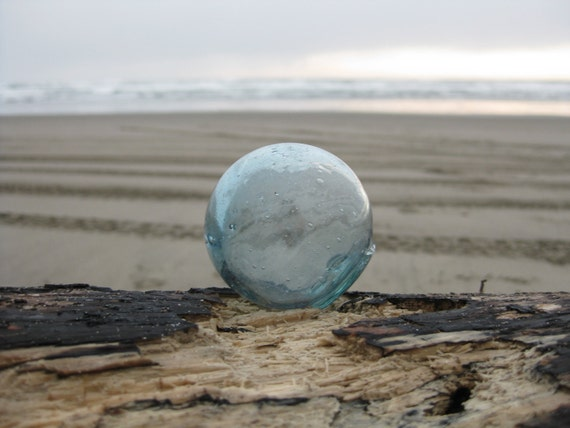 Japanese Glass Fishing Float - Light Blue, Golfball Size