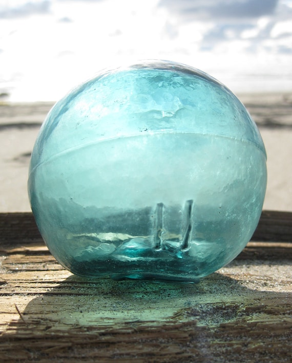 Authentic 3-Piece Mold Glass Fishing Float - Teal Blue, Frosted, Alaska Beachcombed