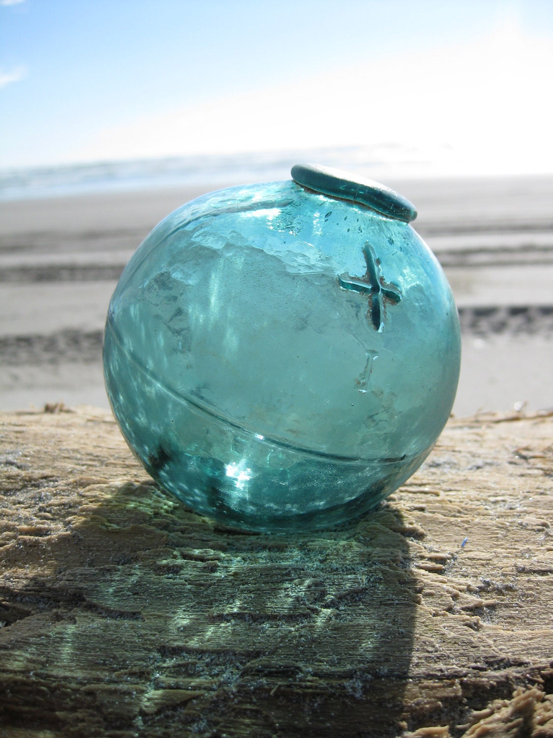 Authentic piece mold glass fishing float teal blue alaska