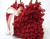 NzLbags SHOULDER Bag - HANDBAG, Every Day Shaggy Knitted Bag RED Nr-037