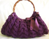 NzLbags Handmade - Handbag - Shoulder Bag - Everyday Bag-PURPLE Knitted Nr - 038