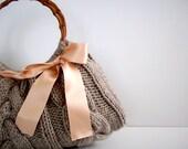 NzLbags Handmade - Handbag - Shoulder Bag - Everyday Bag-Beige Knitted Nr - 087