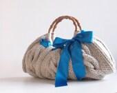 SALE OFF 15% Handbag - Knit Handbag - Beige Melange New - Hand Bag Nr-0119