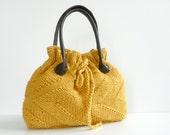 NzLbags New - Mustard Knit Bag, Handbag - Shoulder Bag, Leather Strap Nr-0181