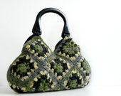 Crochet felted handbag, Winter fall autumn fashion - Felted Wool Crochet Handbag -  Shades Wonderful Color, granny square