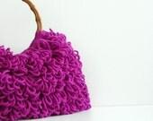 Crochet bag, fall autumn fashion, Handmade crochet bag, Shoulder Bag, Everyday Bag, Crochet Handbag Shaggy Fuchsia, christmas gift idea