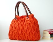 SALE OFF 15% NzLbags New - Pumpkin Orange Knit Bag, Handbag - Shoulder Bag, Leather Strap Nr-0214