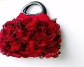 RUFFLE Crochet women handbag, crochet bag, NzLbag Handmade Everyday Bag - Crochet Handbag Salsa Black and Ruby Red