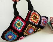 Granny Square Crochet handbag - Multicolor Afghan, Handmade Crochet Handbag - Small