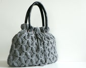 SALE OFF 20%, NzLbags - Handmade Knit bag, christmas gifts, knitted handbag, leather shoulder bag - Nr-0224