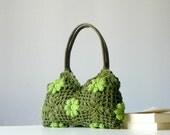 SALE OFF 20%, Spring Flowers Crochet bag - Summer Bag Afghan, Granny Square Handbag - Shoulder Bag