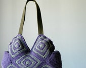 Crochet Bag, fall autumn, Grey purple Fashion women bag, crochet stripet bag, granny square, Shoulder Bag, christmas gift idea