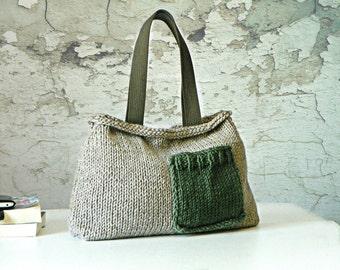 Knit women handbag, fall autumn Fashion, NzLbags - Pastel color Knit Bag, Women Handbag - Shoulder Bag