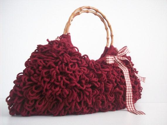 NzLbags Handmade - Everyday Bag - Crochet Handbag Shaggy Burgundy Nr - 089