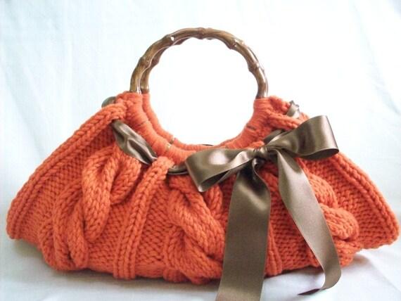 Knitted Orange Handbag Number-034
