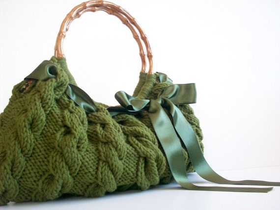 SALE OFF 15% SHOULDER Bag, Handbag Everyday Knitted Bag Green Nr.0112