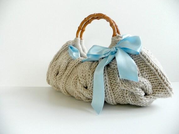 Knit handbag Purse, Fall autumn women fashion, Small NzLbags Knitted Handbag - Beige Bag blue ribbon bow, christmas gift idea, natural