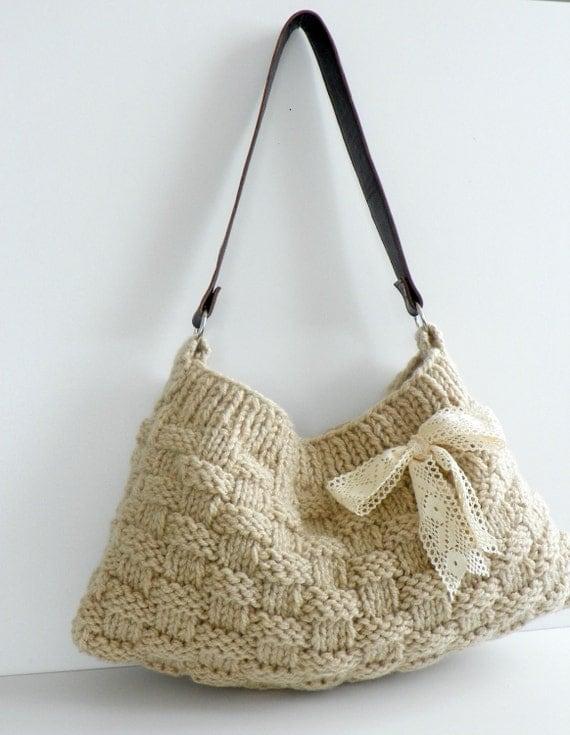NzLbags New Neutral - Ecru-Cream Knit Bag, Handbag - Shoulder Bag, Leather Strap Nr-0180