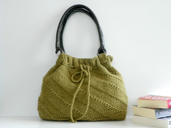 Knit Handbag fall autumn  - Green Mold Knit Bag, Handbag - Shoulder Bag, Leather Strap, christmas gift
