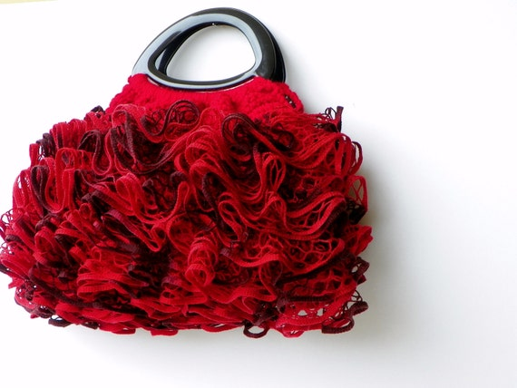 RUFFLE Crochet women handbag, crochet bag, NzLbag Handmade Everyday Bag - Crochet Handbag Salsa Black and Ruby Red
