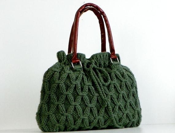 Knitting fashion women bag, Fall Winter Fashion, NzLbags, bag, handbag, shoulder bag, Green, Knit Bag, Christmas Gifts Idea