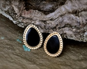 Vintage Clip Earrings / 1960's Enamel Earrings / Black & Gold Reign Earrings