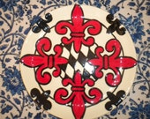 Set of 4 Fleur De Lis small plates