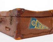 Vintage Suitcase, Notre Dame Student, Dark Brown Leather, Antique Stickers
