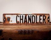 """Vintage Rustic Metal West Chandler Street Road Sign, 24"""" x 6"""""""