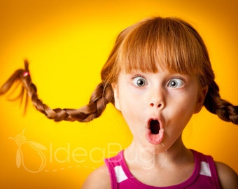 8x10 Photo Print, Silly Red-Haired Girl Making a Crazy Face, Yellow, Orange
