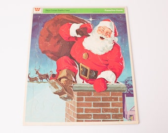 Vintage 70s Santa Claus Tray Puzzle, Jolly in Chimney