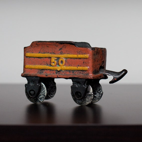 Nycrr Cast Iron Train: Antique Cast Iron Toy Train Coal Car Metal By TimeForMemories